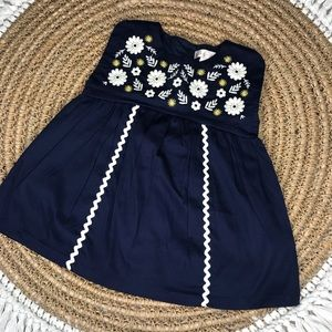 Maggie and Zoe Floral Embroidered Navy Blue Dress